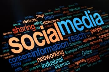 An image showing social media related words